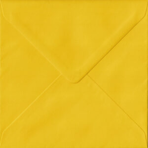 100 Square Yellow Envelopes. Sunflower Yellow. 155mm x 155mm. 100gsm paper. Gummed Flap.