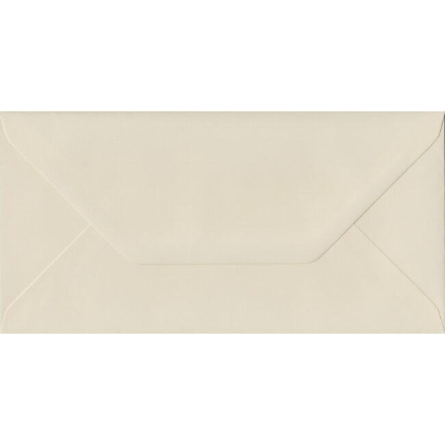 100 DL Cream Envelopes. Vanilla. 110mm x 220mm. 100gsm paper. Gummed Flap.