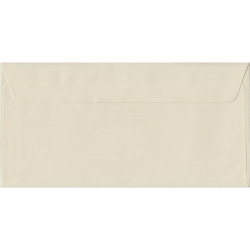 100 DL Cream Envelopes. Vanilla. 110mm x 220mm. 100gsm paper. Peel/Seal Flap.