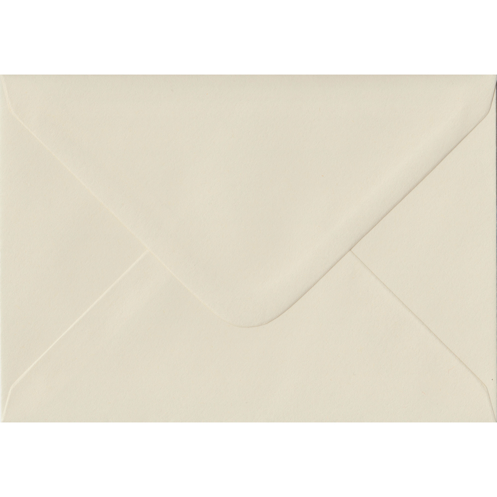 100 A6 Cream Envelopes. Vanilla. 114mm x 162mm. 100gsm paper. Gummed Flap.