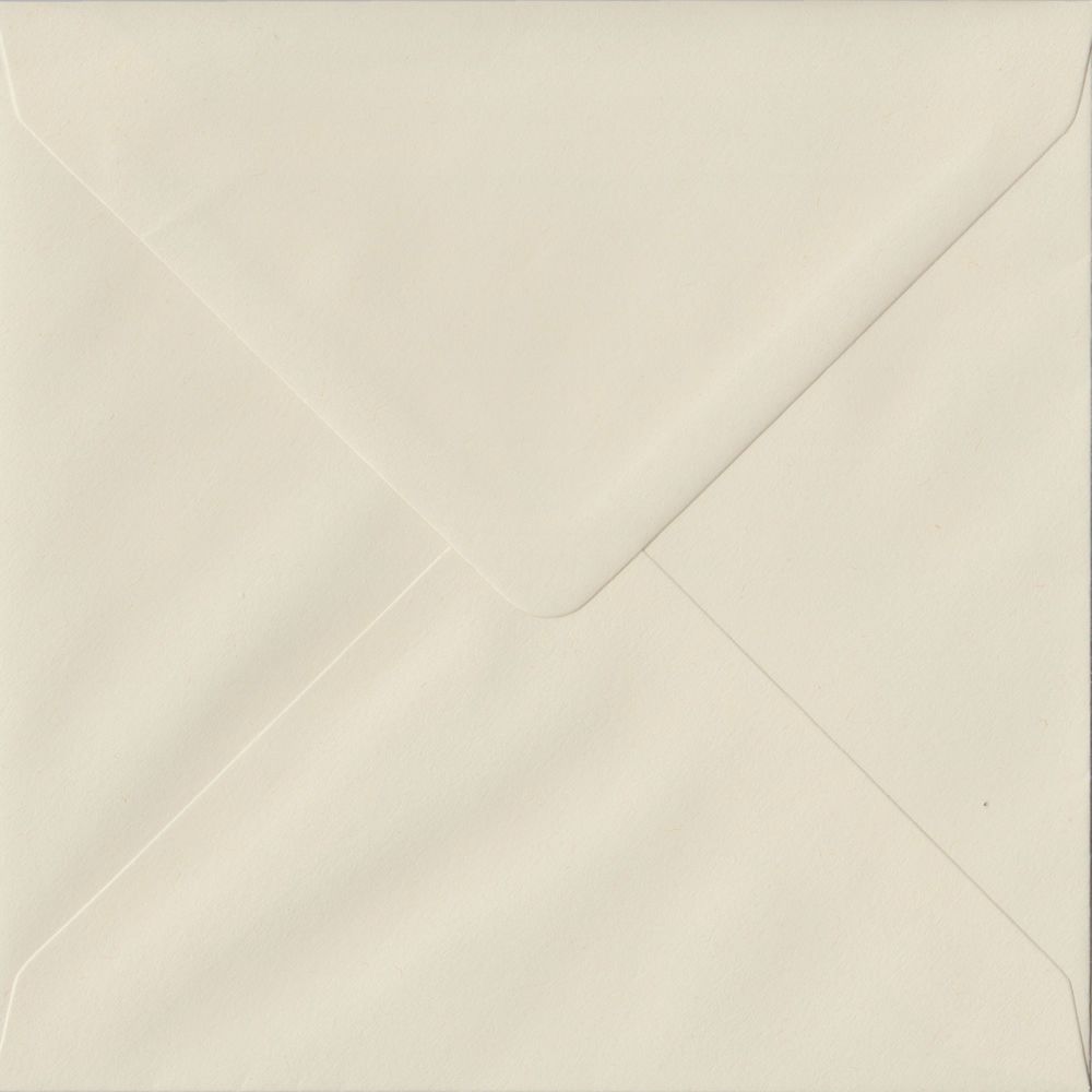 100 Square Cream Envelopes. Vanilla. 155mm x 155mm. 100gsm paper. Gummed Flap.